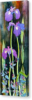 Canvas Print featuring the painting Iris Tall And Slim by Teresa Ascone