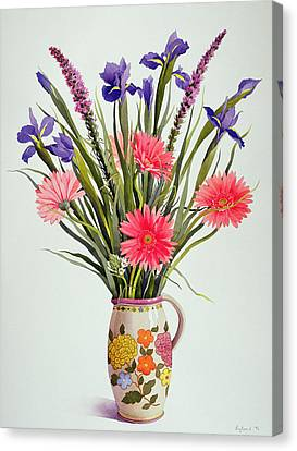 Irises And Berbera In A Dutch Jug Canvas Print by Christopher Ryland