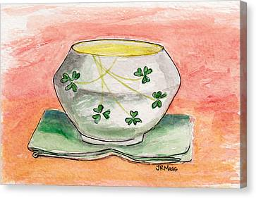 Canvas Print featuring the painting Irish Belleek And Linen by Julie Maas