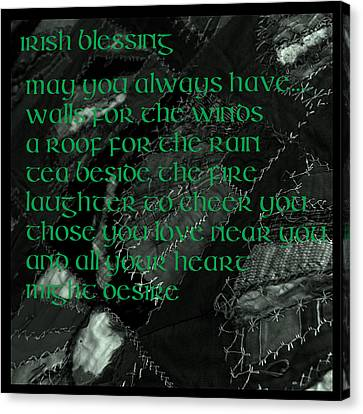 Irish Blessing Stitched In Time Canvas Print