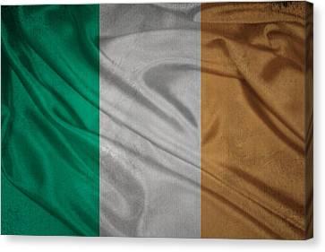 Irish Flag Waving On Canvas Canvas Print