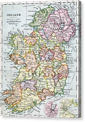 Scales Canvas Print - Irish Free State And Northern Ireland From Bacon S Excelsior Atlas Of The World by English School