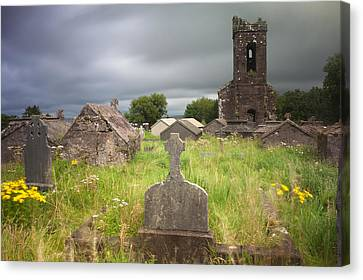 Irish Graveyard Cemetary Dark Clouds Canvas Print by Dirk Ercken
