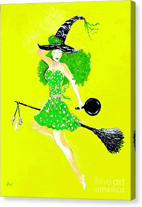 Irish Kitchen Witch Canvas Print by Alys Caviness-Gober