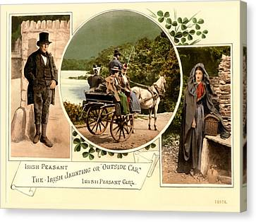 Horse And Cart Canvas Print - Irish Peasants And A Jaunting Car by Vintage Image