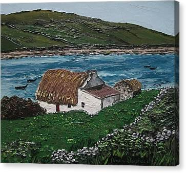 Irish Thatch Cottage Connemara Ireland Canvas Print by Diana Shephard