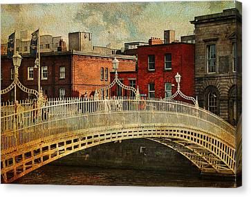 Irish Venice. Streets Of Dublin. Painting Collection Canvas Print by Jenny Rainbow