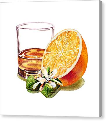 Labelled Canvas Print - Irish Whiskey And Orange by Irina Sztukowski