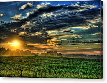 Iron Horse Sunrise Young Corn And Silos Canvas Print by Reid Callaway