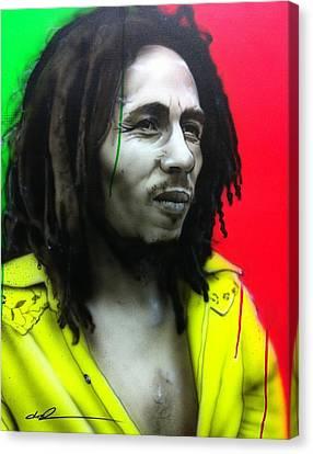 Bob Marley - ' Iron Like A Lion In Zion ' Canvas Print by Christian Chapman Art