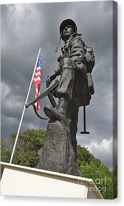 Iron Mike Us Airborne Forces Memorial St Mere Eglise Normandy France Europe Canvas Print by Jon Boyes