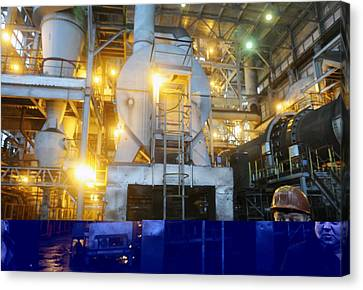 Iron Ore Processing Canvas Print by Science Photo Library