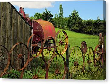 Iron Wheels, Dahmen Barn, Uniontown Canvas Print by Michel Hersen