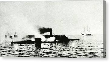 Ironclad Warships In Combat Canvas Print