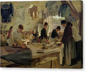 Ironing Workshop In Trouville Canvas Print by Louis Joseph Anthonissen