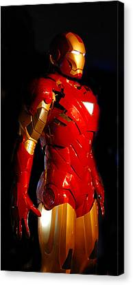 Ironman On Black Background Canvas Print by Gina Dsgn