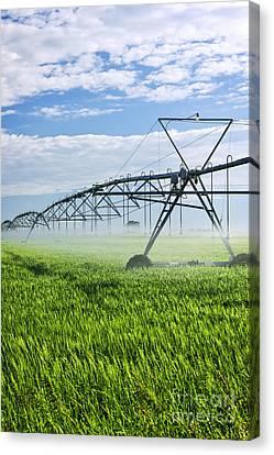 Irrigation Equipment On Farm Field Canvas Print