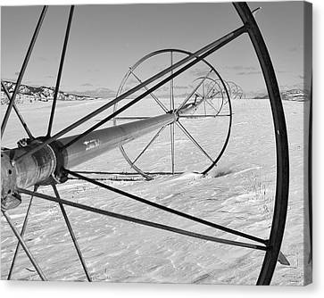 Irrigation Pipe In Winter Canvas Print by Theresa Tahara