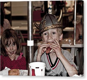 Is She Adoring Her Viking Or Coveting His Lunch Canvas Print by Sandi Mikuse
