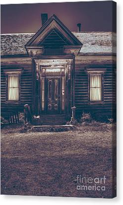 Cabin Window Canvas Print - Is Someone Home by Margie Hurwich
