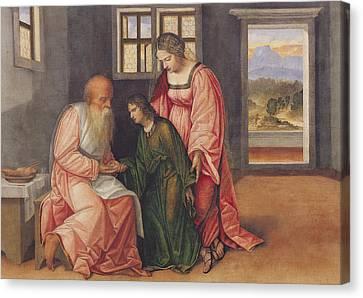Isaac Blessing Jacob Canvas Print by Girolamo da Treviso II