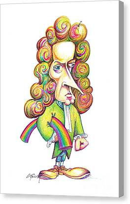 Isaac Newton Caricature Canvas Print by Science Photo Library
