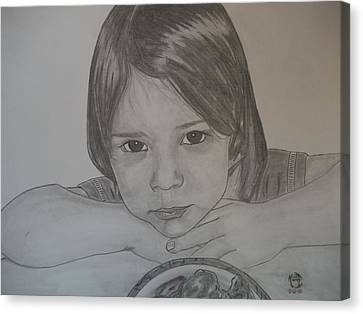 Canvas Print featuring the drawing Isabella by Justin Moore