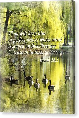 Weeping Willow Canvas Print - Isaiah 26 3 Thou Wilt Keep Him In Perfect Peace by Susan Savad