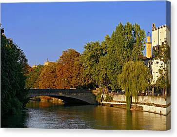 Isar River - Munich - Bavaria Canvas Print by Christine Till