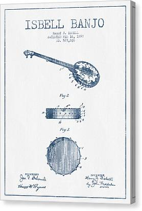 Isbell Banjo Patent Drawing From 1897  - Blue Ink Canvas Print by Aged Pixel