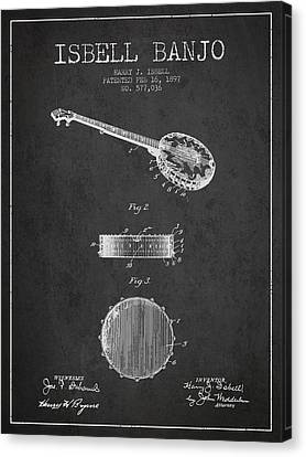 Isbell Banjo Patent Drawing From 1897 - Dark Canvas Print by Aged Pixel