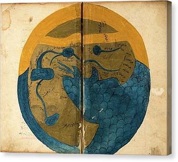 Wa Canvas Print - Islamic Map Of The World by National Library Of Medicine