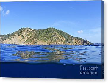 Island And Water Surface Canvas Print by Sami Sarkis
