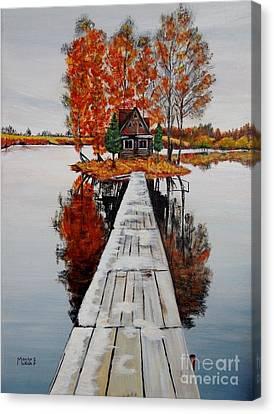 Island Cabin Canvas Print by Marilyn  McNish