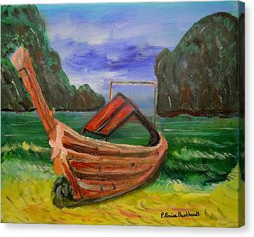 Island Canoe Canvas Print by Louise Burkhardt