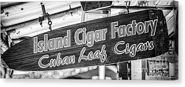 Island Cigar Factory Key West - Panoramic - Black And White Canvas Print