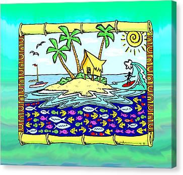 Tiki Canvas Print - Island Home by Aaron Bodtcher