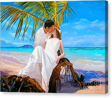 Canvas Print featuring the painting Island Honeymoon by Tim Gilliland
