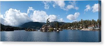 Island In A Lake, Big Bear Lake, San Canvas Print by Panoramic Images