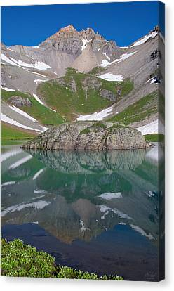 Island Lake Reflection Canvas Print by Aaron Spong