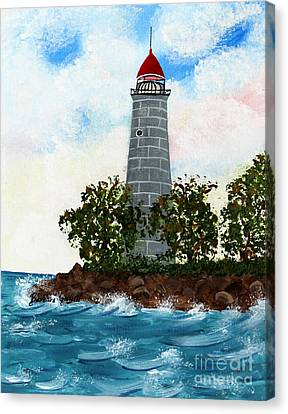 Island Lighthouse Canvas Print by Barbara Griffin