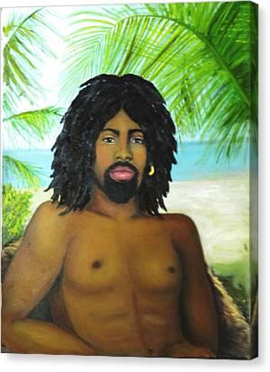Canvas Print featuring the painting Island Man by Sandra Nardone