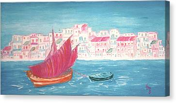 Island Of Crete Canvas Print by Inge Lewis