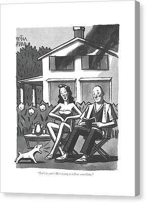 House Pet Canvas Print - Isn't He Cute? He's Trying To Tell Us Something by Peter Arno