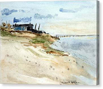 Canvas Print featuring the painting Isolated Beach House by Michael Helfen
