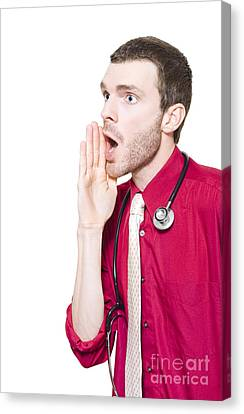 Isolated Gp Doctor Shouting Out Health Message Canvas Print by Jorgo Photography - Wall Art Gallery