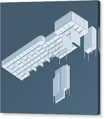 Brutalist Canvas Print - Isometric Council Chambers by Peter Cassidy