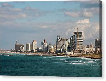 Israel, Jaffe, Beachfront High-rises Canvas Print by Ellen Clark