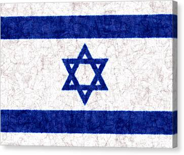Israel Star Of David Flag Batik Canvas Print by Kurt Van Wagner