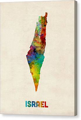 Israel Watercolor Map Canvas Print by Michael Tompsett